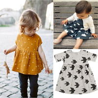 Wholesale Korean Style Drop Shipping - 2017 Spring Girl Dresses Korean Style Dresses Baby Girl 3 4 Sleeve Kids Clothings#20161221-2 Drop Shipping