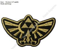 "Wholesale Zelda Cap - 4"" Hook and Loop Legend of Zelda Hyrule's Royal Crest Golden PATCHES TV Movie Embroidered Sew On Badge For baseball caps"