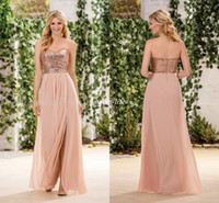 Wholesale Wedding Dresses Rose Skirt - New Long Cheap Bridesmaid Dresses Rose Gold Sequins On Top Chiffon Skirt Sleeveless A-Line Wedding Party Maid of Honor Gowns Plus Size 2017