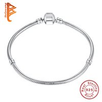 Wholesale New Bracelet 925 Silver - BELAWANG New 925 Sterling Silver Bracelet Lobster Clasp Snake Chain Basic Necklace Bracelet Bangle Fit Women Bead Charm DIY Jewelry