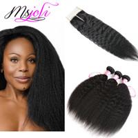 peruvian human hair ücretsiz gönderim bedeli toptan satış-İnsan saç demetleri ile dantel kapatma sapıkça düz saç Perulu bakire saç doğal renk 4x4 dantel kapatma ile 3 demetleri ücretsiz kargo