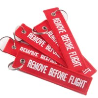 Wholesale key ring pieces - 5 Piece Lot Red REMOVE BEFORE FLIGHT Embroidered Specil Luggage Tag Label Key Chain Ring Aviation For Gifts Key Chain