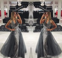 Wholesale Dres Fashion Red - Elegant Gray Lace Long Evening Dresses with Detachable Train Tulle Sleeveless V-Neck Crystals 2017 Long Prom Gowns Pageant Miss Beauty Dres