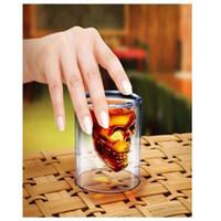 kristall kopfbrille groihandel-Kristall Schädel Tasse Schädel Kopf Weingläser Wodka Whisky Schnapsglas Doppelschicht Piraten Vakuum Gläser Bierkrug Trinkgeschirr