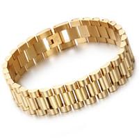 ingrosso moda orologi a cuffia-Braccialetto della fascia 15 millimetri di lusso caldo di modo vigilanza delle donne Mens Oro Argento Acciaio inossidabile monili registrabili cinturino braccialetti del polsino 8.66