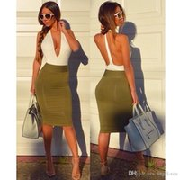 Wholesale Sexy Dress Fight - 2017 sexy nightclub V neck hanging neck fight color splicing package hip dress fashion new European and American selling RY016