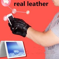 Wholesale Real Leather Half Gloves - 100%real leather black winter warm with fleece Touch screen sports gloves for men and women cycling outdoor gloves half fingers breathable