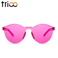 Wholesale Party Shades Sunglasses - Wholesale-TRIOO Rimless Round Sunglasses Transparent Vintage One Piece Design Sun Glasses For Women Fashion Party Color Lens Female Shades
