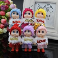 Wholesale Dolls Glasses - 8CM lattice mobile phone pendant small clown confused doll gifts doll accessories wholesale