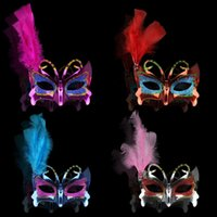 Wholesale Mardi Gras Side Face Masks - 100pcs lot Hot Sexy Rhinestone Shinning Plated Butterfly Masks With Side Feather Halloween Cosplay Mardi Gras Fancy Dress #RZV55