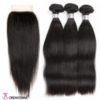 Wholesale Dyeable Mixed Lengths - Brazilian Straight Hair With Closure Human Hair Bundles With Lace Closure 4Pcs Lot Tangle Free Brazilian Straight Virgin Hair Weaves Dyeable