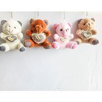 Wholesale Teddy Bears Hearts Wholesale - 9cm Teddy Bear with Plaid Heart Cartoon Stuffed Toy Plush Toy Pendant Bag Keychain Car Key Holder for Bag Wedding Christmas Gift