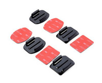 Wholesale Gopro Adhesive - Kit 4pcs Helmet Accessories Flat & Curved Adhesive Mount Holder Adapter For Gopro Hero 1 2 3 3+ 4 5 SJCAM Xiao Yi