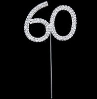 Rhinestone Crystal Number Cake Topper Wedding Birthday Party Décoration Argent Numéro 10 18 20 21 25 50 60 70 Cake Accessory