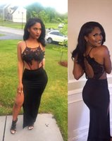 girls lace tops collar NZ - Sexy Black African Prom Dresses 2017 Sexy Sheer See Through Backless Lace Top Mermaid Long Girl Split High Slit Evening Party Gowns