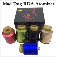 Wholesale Dog Tank Tops - Top quality Mad Dog RDA Atomizers 24mm Diameter Bottom Style Airflow Desire Mad Dog Tank with PEI Drip Tip Wide Bore via DHL