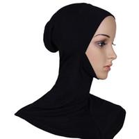 halsabdeckung hijab großhandel-Wholesale-2016 Hijab Headwear volle Abdeckung Underscarf Ninja innere Hals Brust Plain Hut Cap Schal Bonnet