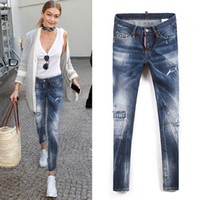 Wholesale Vintage Skinny Ties - Sexy Wild Punk Jeans Women 2017 Fashion Show Distressed Patchwork Fading Vintage Effect Denim Pants Ladies Skinny Stitch Detailed Jean Woman
