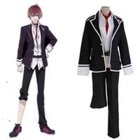 Wholesale Cosplay Wearing School Uniform - Anime Diabolik Lovers Sakamaki Ayato Cosplay Costume School Uniforms Halloween Party Wear Outfit((Blazer & Pants & Tie)
