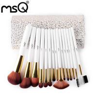 Wholesale Pro Kit Tool Case - Msq 15pcs Professional Makeup Brushes Set Pro High Quality Soft Make Up Brushes Kits with Pu Leather Case Cosmetics Beauty Tools Brush