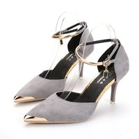 Sexy Metal High Heels Suede Shoes Moda Elegant Bridal Wedding Shoes Preto Vermelho Cinza Cor 6-8CM Frostted Bridal Shoes