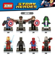120pcs Mix Lot Super Heroes Minifig Wolverine Spider Man Capitaine Amérique Iron Man Bat Figure X0114 Mini Building Blocks Figures
