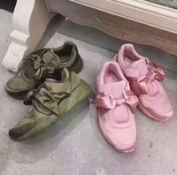 Wholesale Ladies Fashion Trainers - New Women Rihanna Riri Bandana Silk Bow Running Shoes Ladies Fashion Pink Green Trainer Sneakers 36-40