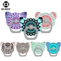 Wholesale OUHOE Degree Stand Cute Cat Head Finger Ring Mobile Phone Smartphone Stand Holder for iPhone Samsung S8 and more