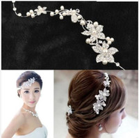 Wholesale Stoned Hair Bow Wholesale - Fashion Wedding Bridal Headpiece Hair Accessories with Pearl Bridal Crowns and Tiaras Head Jewelry Rhinestone Bridal Tiara Headband Noiva