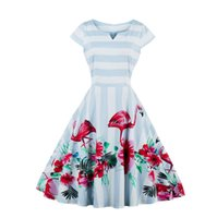 Plus Size Flamingo Print Sommer Blumen Kleid Frauen 2017 Cap Ärmel Swing Slim Vintage Kleid Elegant Rockabilly Cocktail Party Prom Kleider