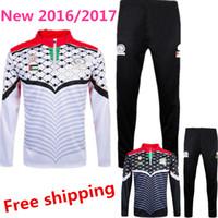Wholesale Men Suit Garment - New Palestinian 2016 2017 football training suit jacket fleece white black football jersey football running unlined upper garment