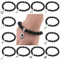 Wholesale 12 styles Lava Rock Beads Bracelets With Anchor Rudder tree cross feather star charms Black stone bangle Bracelet For women Fashion Jewelry