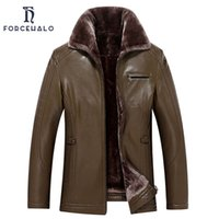 Wholesale Leather Jacket For Large Men - 2017 New Arrival Leather Jacket Men With Fur Collar Business Jackets For Men Warm Thickening Casual Overcoat Large Size L-4XL