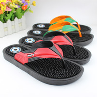 Wholesale Shower Feet - 2017 new summer flat-bottomed non-slip massage foot sandals slippers Casual fashion men slippers Men's beach sandals