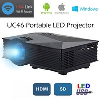 Wholesale Portable Player Wifi - Mini LED Projector 1080P HD LCD Projectors UC46 Portable Multi-Media Player Unic Wifi Wireless DLNA Miracast Display Home Theater HDMI VGA