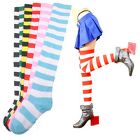 Wholesale Wholesale Red Striped Socks - Wholesale-Women Sock Fashion New Striped THIGH HIGH Knee Socks Girls Womens Halloween Cosplay Freeshipping Hot 2016