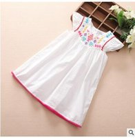 Wholesale Dress Medium Sleeves - Summer hot new Small and medium-sized embroidery flower children sleeveless cotton dresses of the girls