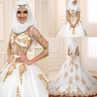 Wholesale boda dresses for sale - Group buy 2018 Latest Design Vestidos De Boda Plus Size Incredible Gold Lace Wedding Dresses Long Sleeve Muslim Bridal Gowns