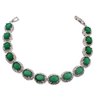 Link, Chain origins halloween - 925 Sterling Silver Natural Green Emerald Origin Stone Tennis Links Bracelets Sparkle Cubic Zirconia Beautiful Engagement Gifts