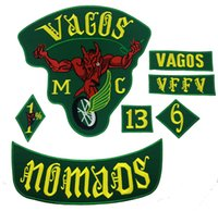 Wholesale Rock Patches - Fashion Vagos 1% MC Full Of Jacket Vest Embroidered Patch Green Motorcycle Biker Vest Patch Rock Punk Patch 9 Pcs  Lot Free Shipping