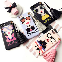 Wholesale Cartoon Girls Phone Case - For iphone 7 plus Fashion Girl Soft TPU Case Cartoon Tassel Accesories Rivets Phone Case For iphone 6 6s plus With Retailpackage