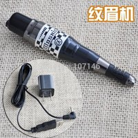 Wholesale Permanent Makeup Pen Power Supply - Wholesale- Black Mosaic Eyebrow Machine Pen Permanent Makeup Machines With Power Supply Adapter For Cosmetic Tattoo Top Grade
