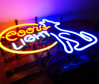 Wholesale Coors Light Signs New - New Tat tire Neon Beer Sign Bar Sign Real Glass Neon Light Beer Sign ME 657-coors light 15.7x15.7 001