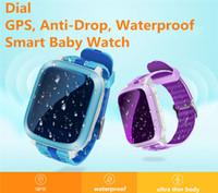 gps gsm wifi Canada - GPS Tracker Kids Smart Watch DS18 Q90 Waterproof For Kids SOS Emergency Anti-Lost GPRS GSM WiFi Wristwatches Remote Monitor B1104