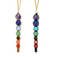 Wholesale Power Balanced - Yoga 7 Chakra Natural Stone Necklace Bead Healing Balance Buddha Necklace Power Inspired Jewelry for Women Gift 162112