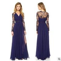 Wholesale Slim Fit Maxi Dresses - Sexy Blue Summer Elegant V Neck Long Lace Sleeve Fitted dress Women Fashion Slimming Chiffon Split Maxi Dress A001