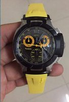 Wholesale Oval Watch Faces - High quality Men Sport style New Black face yellow band chronograph quartz watch stop watch T-race