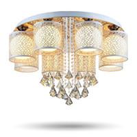ingrosso cristalli di lampade a soffitto-2017 New Round LED Plafoniera in cristallo per soggiorno Lampada da interno con telecomando a luminaria casa decorazione