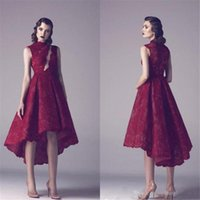 Wholesale High Neck Sleeveless Dresses - Red Lace Evening Dress 2018 High Neck Zipper Sleeveless Lace Applique Formal Evening Dress Custom Free Shipping