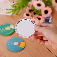 Wholesale Cosmetic Bag Pockets Patterns - Wholesale- 1PCS Cartoon Pattern Portable Compact Pocket Cosmetic Mirror for Beauty Women In Cosmetic Case